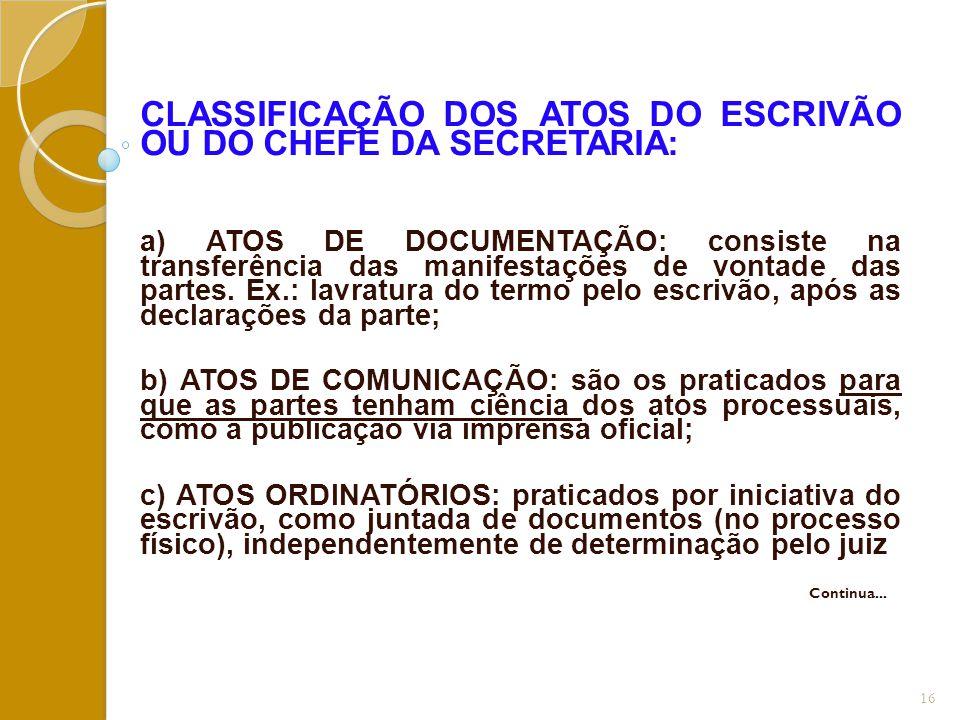CLASSIFICAÇÃO DOS ATOS DO ESCRIVÃO OU DO CHEFE DA SECRETARIA: