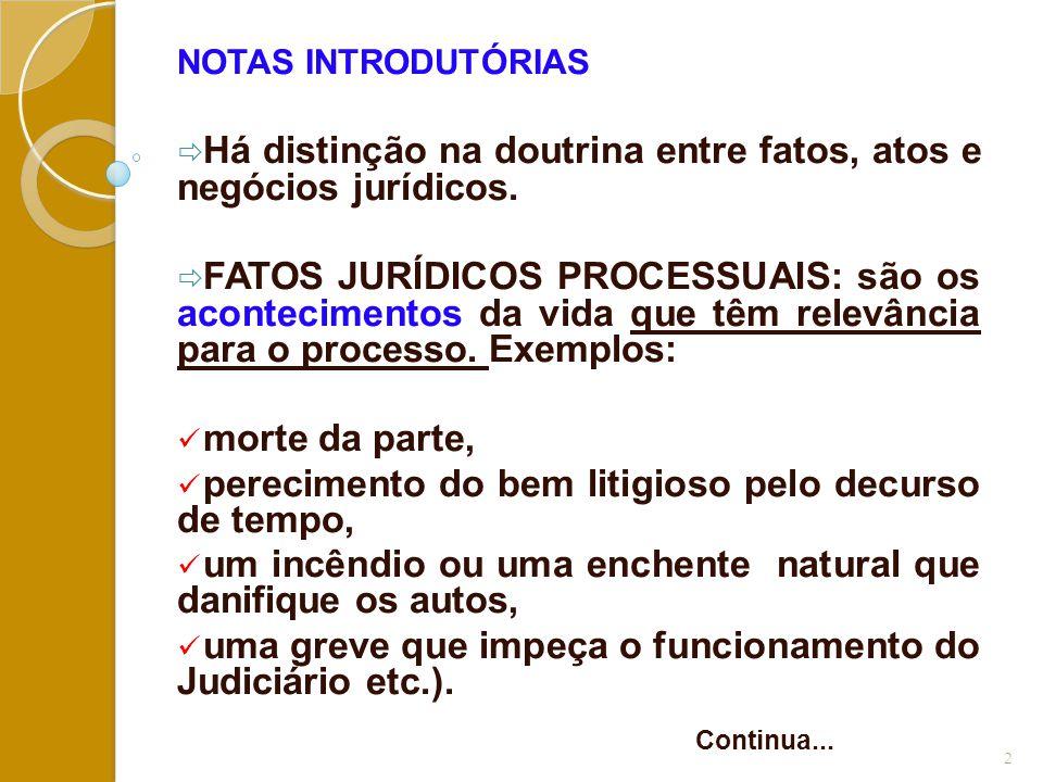 Há distinção na doutrina entre fatos, atos e negócios jurídicos.