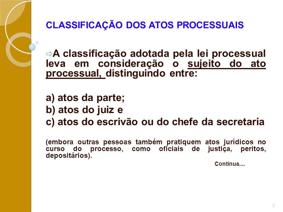 c) atos do escrivão ou do chefe da secretaria