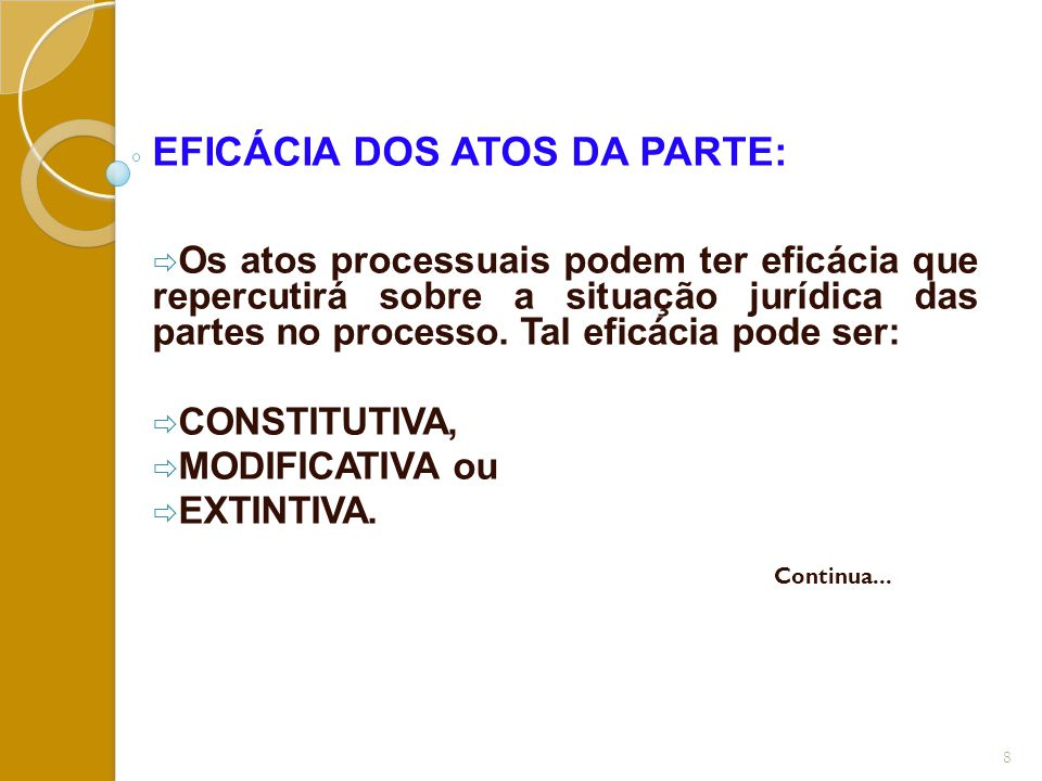 EFICÁCIA DOS ATOS DA PARTE: