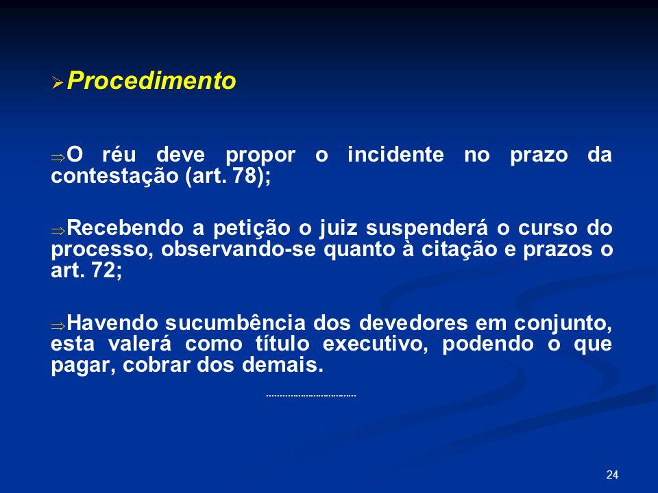 Procedimento O réu deve propor o incidente no prazo da contestação (art. 78);