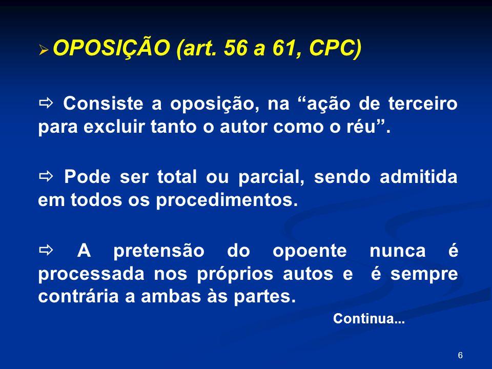 OPOSIÇÃO (art. 56 a 61, CPC)  Consiste a oposição, na ação de terceiro para excluir tanto o autor como o réu .