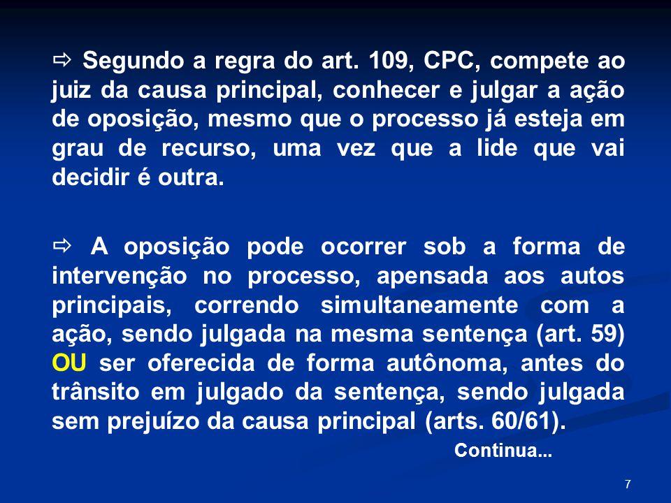  Segundo a regra do art. 109, CPC, compete ao juiz da causa principal, conhecer e julgar a ação de oposição, mesmo que o processo já esteja em grau de recurso, uma vez que a lide que vai decidir é outra.