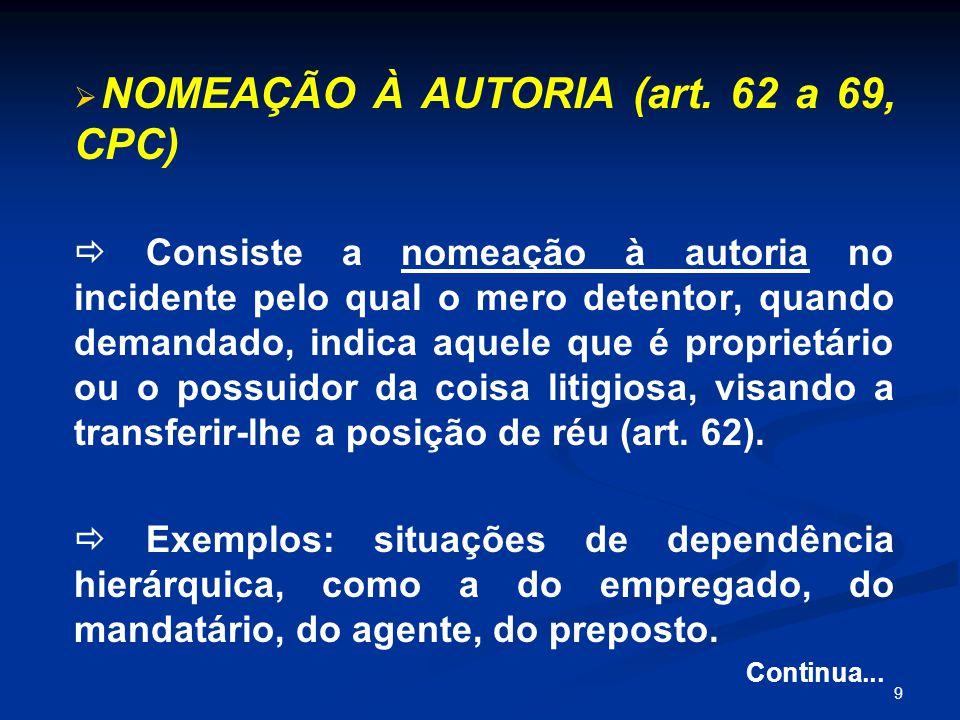 NOMEAÇÃO À AUTORIA (art. 62 a 69, CPC)