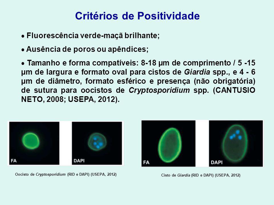 Oocisto de Cryptosporidium (RID e DAPI) (USEPA, 2012)