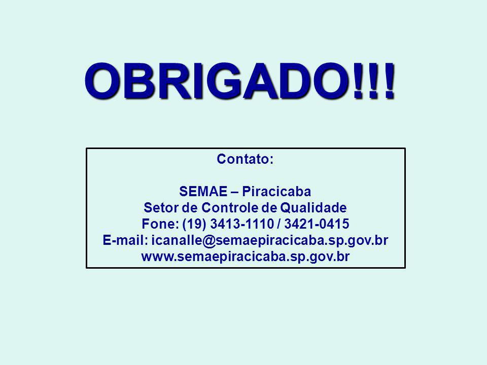 OBRIGADO!!! Contato: SEMAE – Piracicaba Setor de Controle de Qualidade