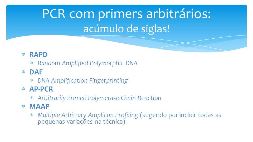 PCR com primers arbitrários: acúmulo de siglas!