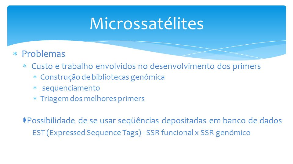 Microssatélites Problemas