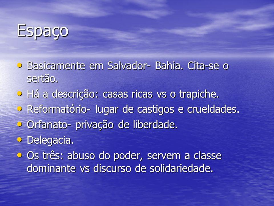 Espaço Basicamente em Salvador- Bahia. Cita-se o sertão.