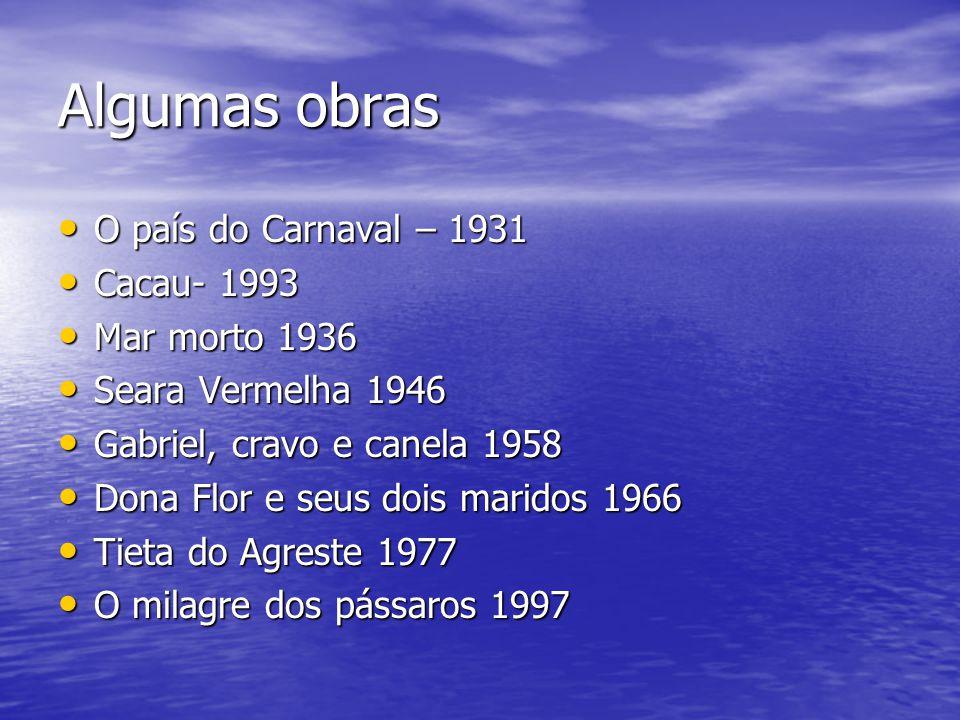 Algumas obras O país do Carnaval – 1931 Cacau- 1993 Mar morto 1936