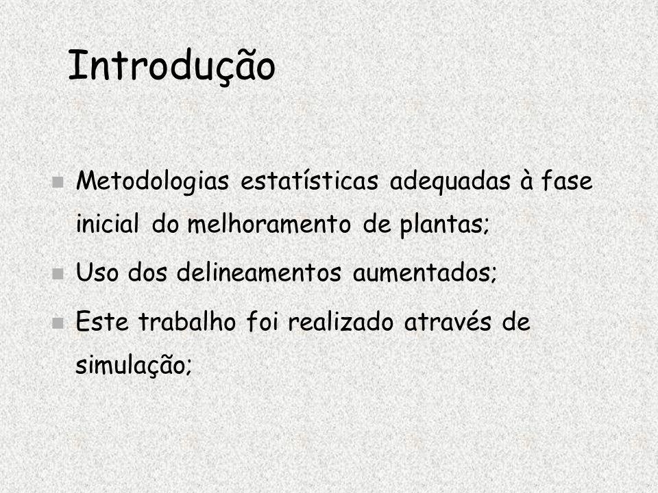 Introdução Metodologias estatísticas adequadas à fase inicial do melhoramento de plantas; Uso dos delineamentos aumentados;