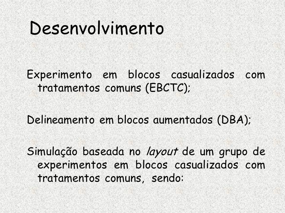 Desenvolvimento Experimento em blocos casualizados com tratamentos comuns (EBCTC); Delineamento em blocos aumentados (DBA);