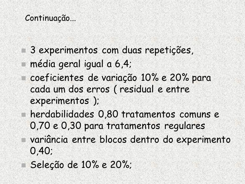 3 experimentos com duas repetições, média geral igual a 6,4;