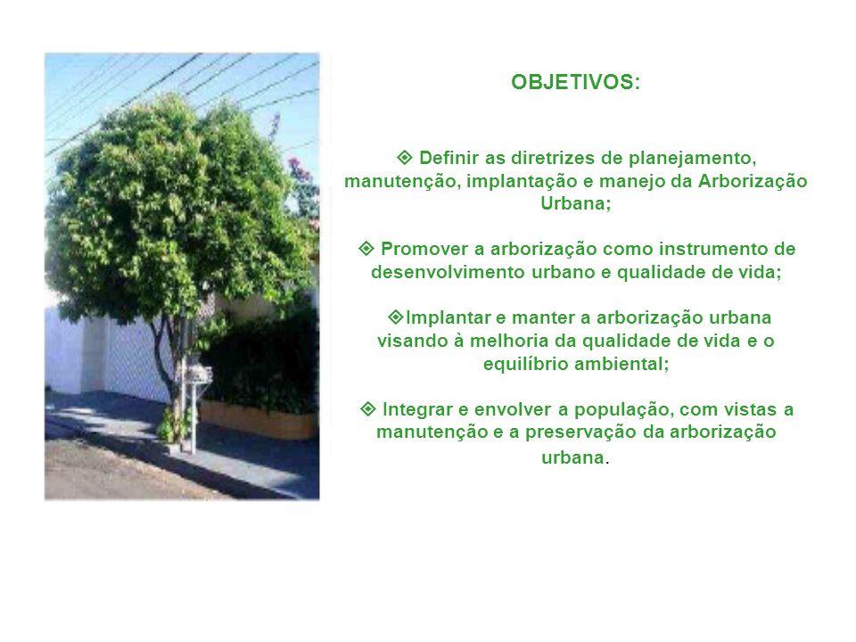 OBJETIVOS:  Definir as diretrizes de planejamento, manutenção, implantação e manejo da Arborização Urbana;