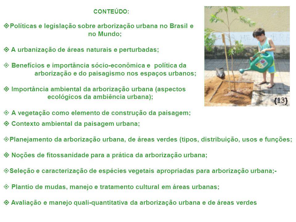 Políticas e legislação sobre arborização urbana no Brasil e no Mundo;