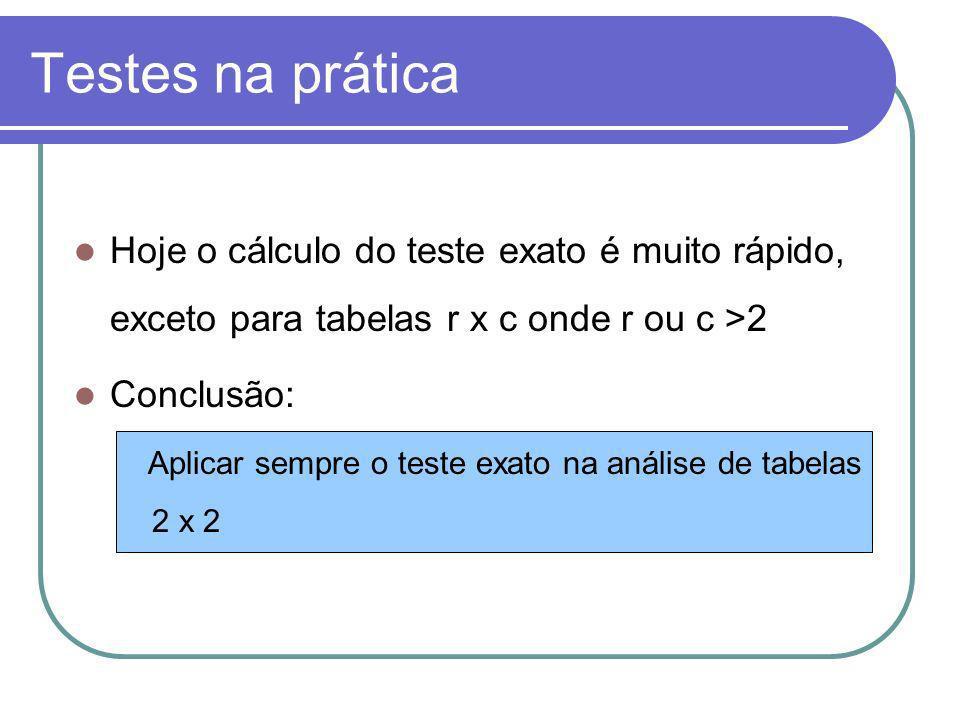 Testes na práticaHoje o cálculo do teste exato é muito rápido, exceto para tabelas r x c onde r ou c >2.