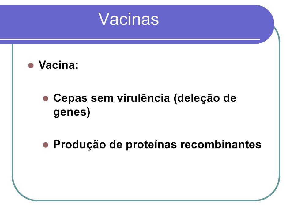 Vacinas Vacina: Cepas sem virulência (deleção de genes)