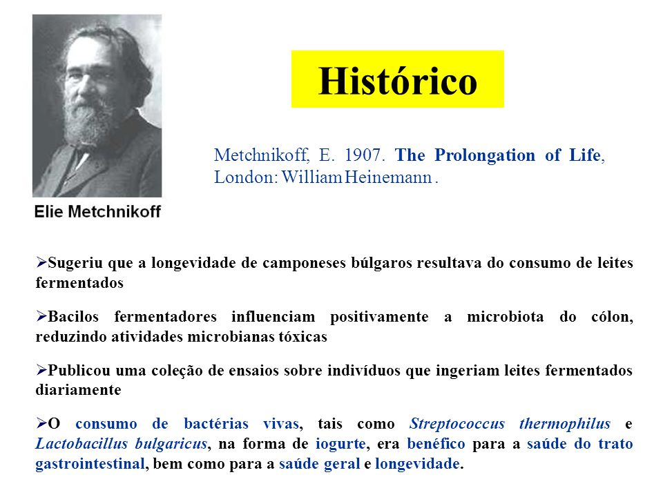 3/25/2017 Histórico. Metchnikoff, E. 1907. The Prolongation of Life, London: William Heinemann .