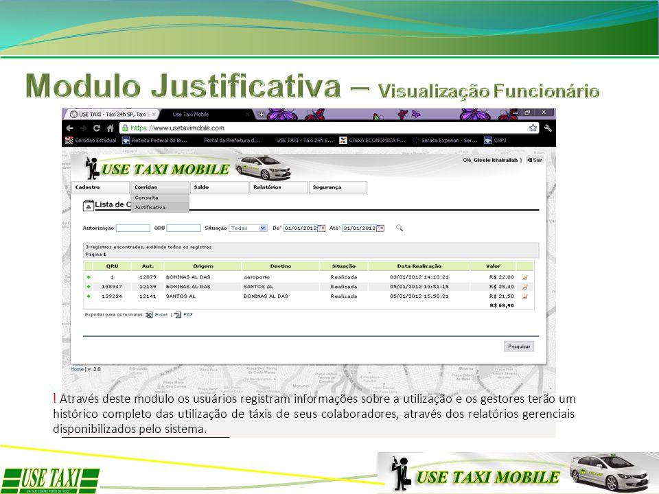 Modulo Justificativa – Visualização Funcionário