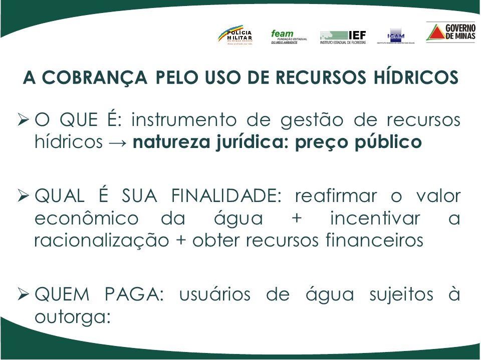 A COBRANÇA PELO USO DE RECURSOS HÍDRICOS