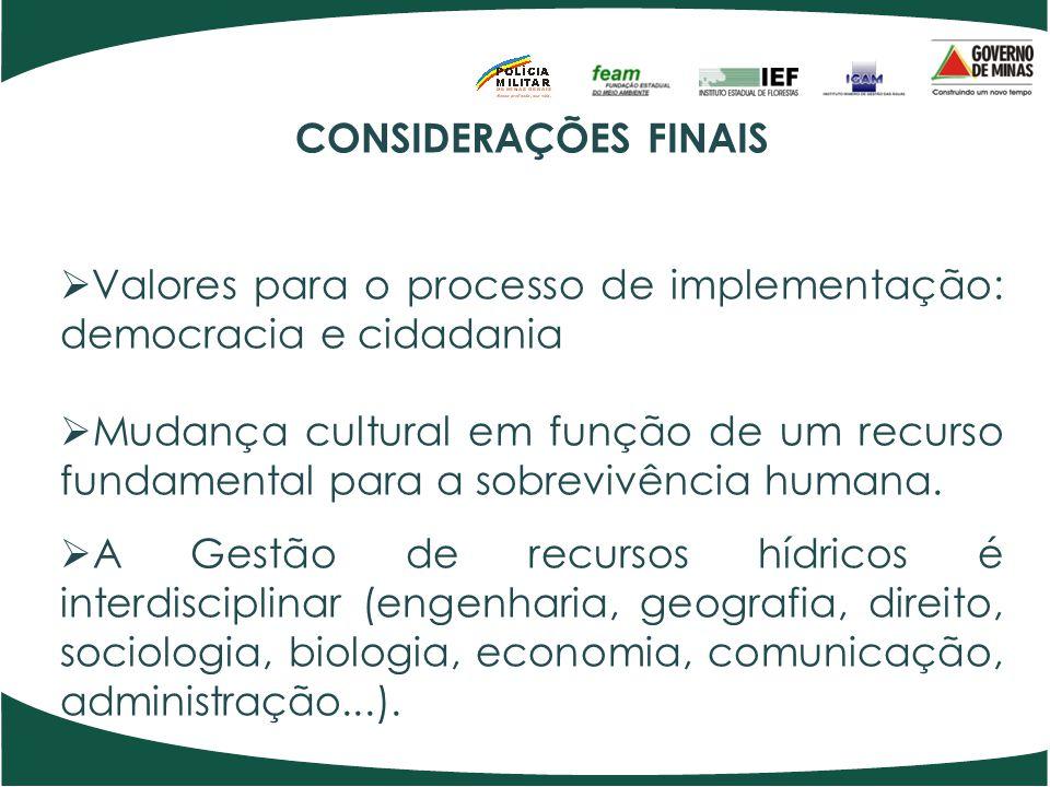 CONSIDERAÇÕES FINAIS Valores para o processo de implementação: democracia e cidadania.