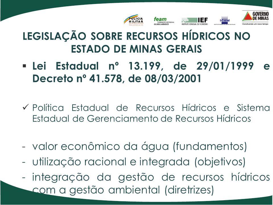 LEGISLAÇÃO SOBRE RECURSOS HÍDRICOS NO ESTADO DE MINAS GERAIS