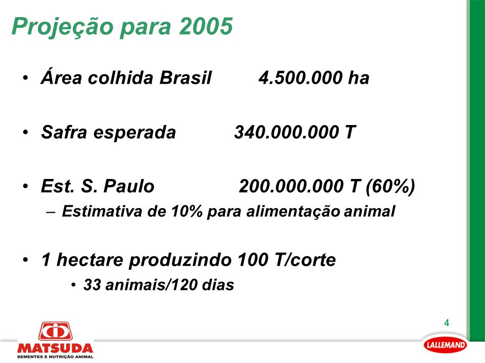 Projeção para 2005 Área colhida Brasil 4.500.000 ha