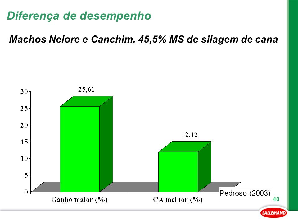 Machos Nelore e Canchim. 45,5% MS de silagem de cana