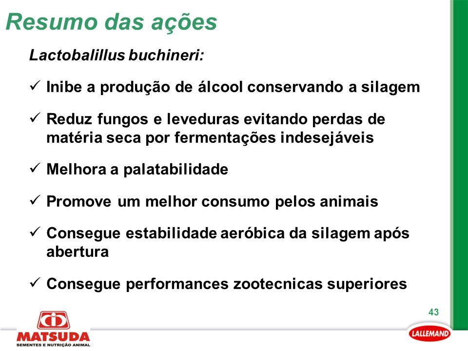 Resumo das ações Lactobalillus buchineri: