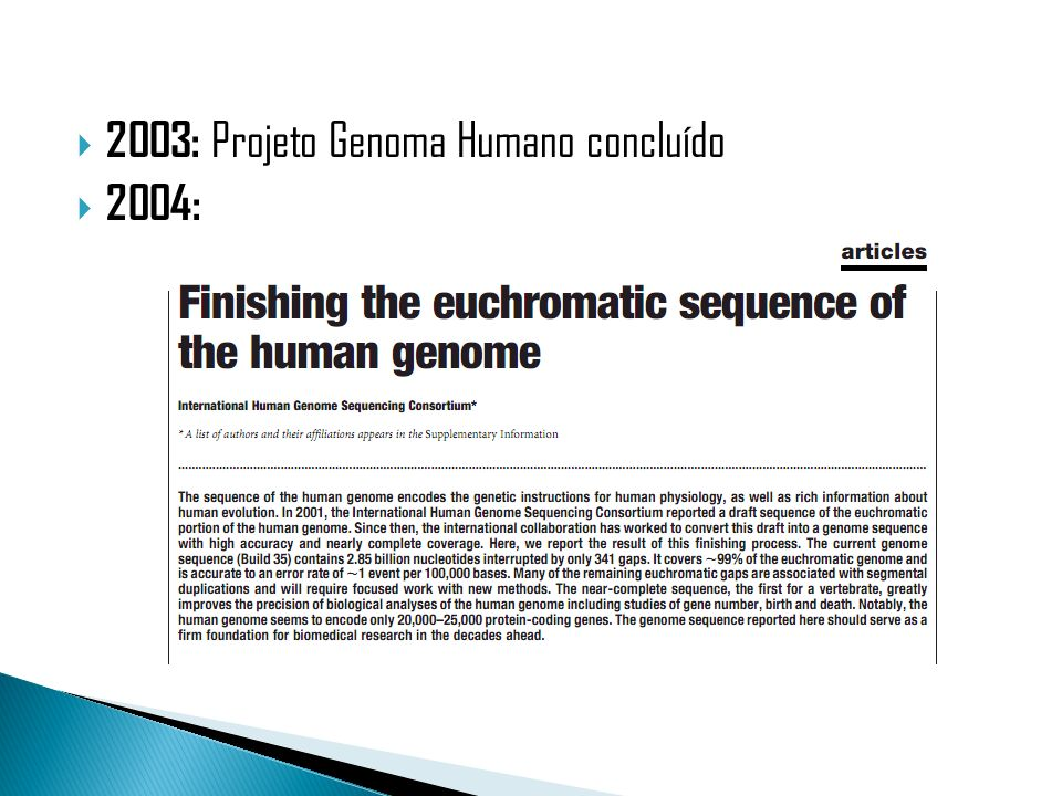 2003: Projeto Genoma Humano concluído