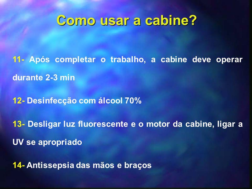 Como usar a cabine 11- Após completar o trabalho, a cabine deve operar durante 2-3 min. 12- Desinfecção com álcool 70%