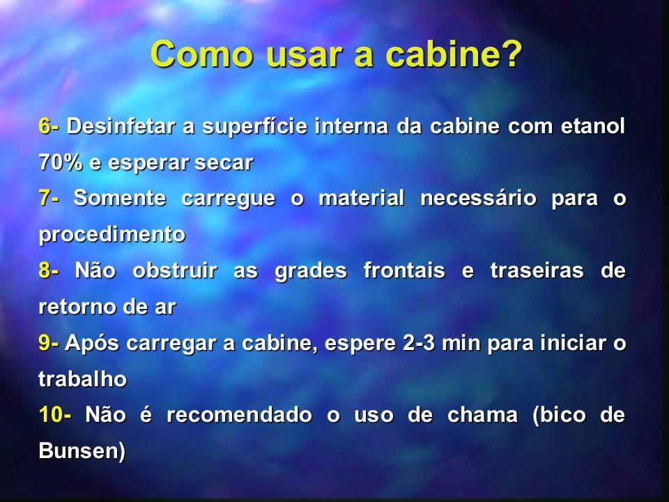 Como usar a cabine 6- Desinfetar a superfície interna da cabine com etanol 70% e esperar secar.