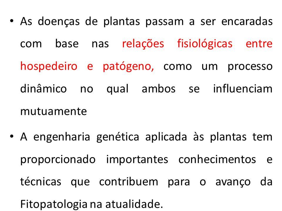 As doenças de plantas passam a ser encaradas com base nas relações fisiológicas entre hospedeiro e patógeno, como um processo dinâmico no qual ambos se influenciam mutuamente