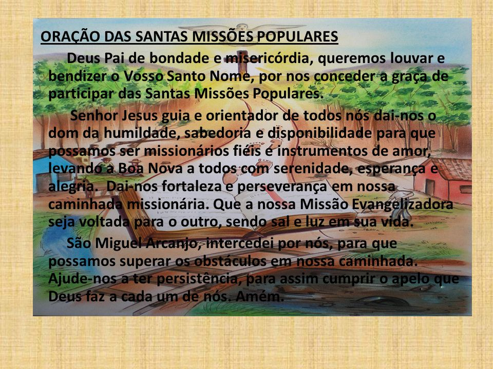 ORAÇÃO DAS SANTAS MISSÕES POPULARES