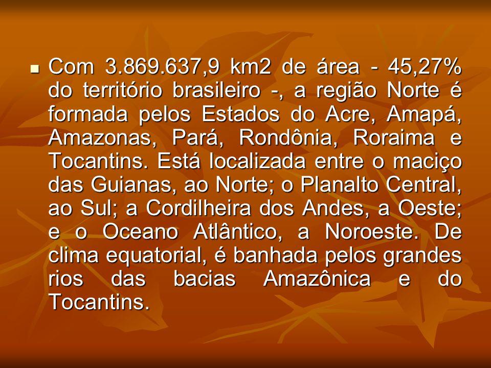 Com 3.869.637,9 km2 de área - 45,27% do território brasileiro -, a região Norte é formada pelos Estados do Acre, Amapá, Amazonas, Pará, Rondônia, Roraima e Tocantins.