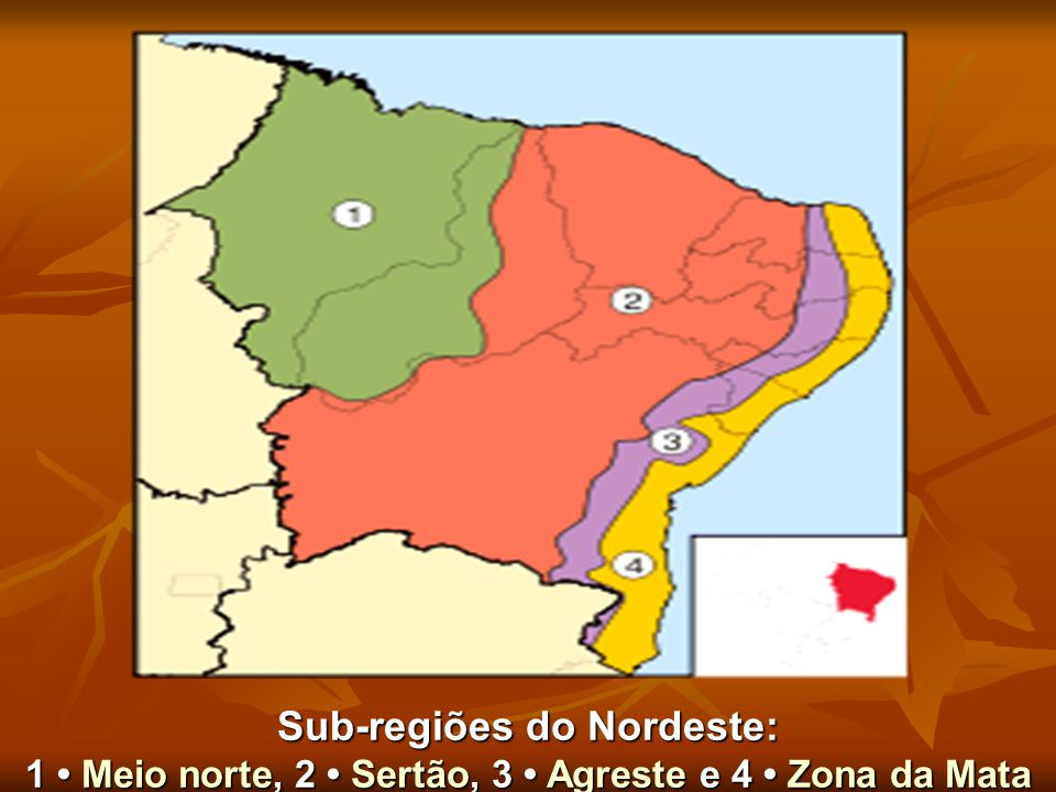 Sub-regiões do Nordeste: 1 • Meio norte, 2 • Sertão, 3 • Agreste e 4 • Zona da Mata