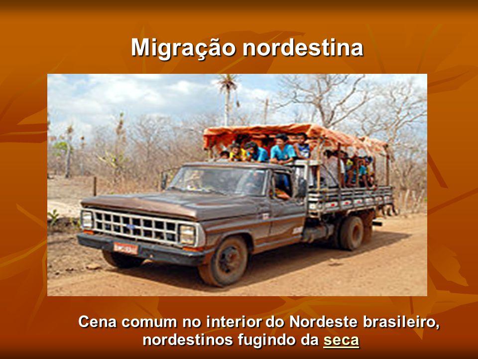 Migração nordestina Cena comum no interior do Nordeste brasileiro, nordestinos fugindo da seca