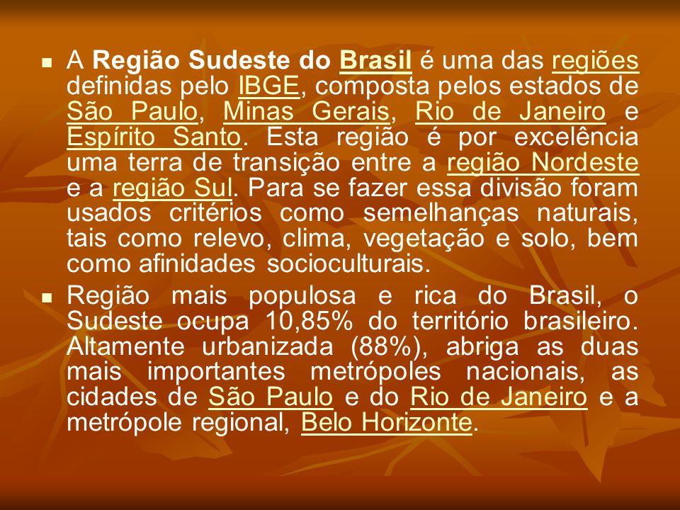 A Região Sudeste do Brasil é uma das regiões definidas pelo IBGE, composta pelos estados de São Paulo, Minas Gerais, Rio de Janeiro e Espírito Santo. Esta região é por excelência uma terra de transição entre a região Nordeste e a região Sul. Para se fazer essa divisão foram usados critérios como semelhanças naturais, tais como relevo, clima, vegetação e solo, bem como afinidades socioculturais.