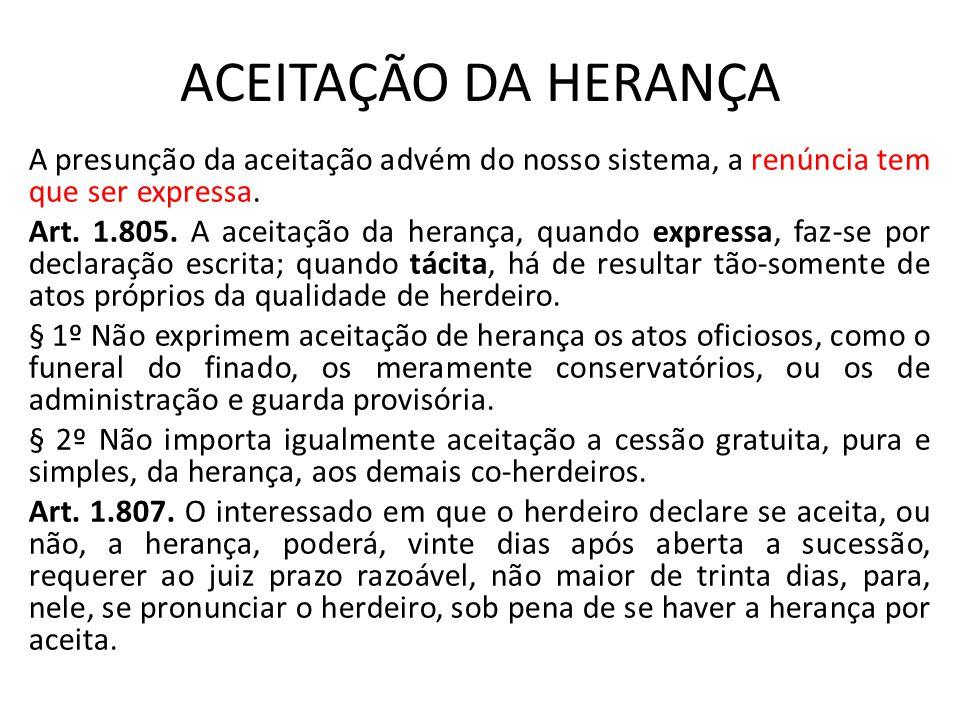 ACEITAÇÃO DA HERANÇA