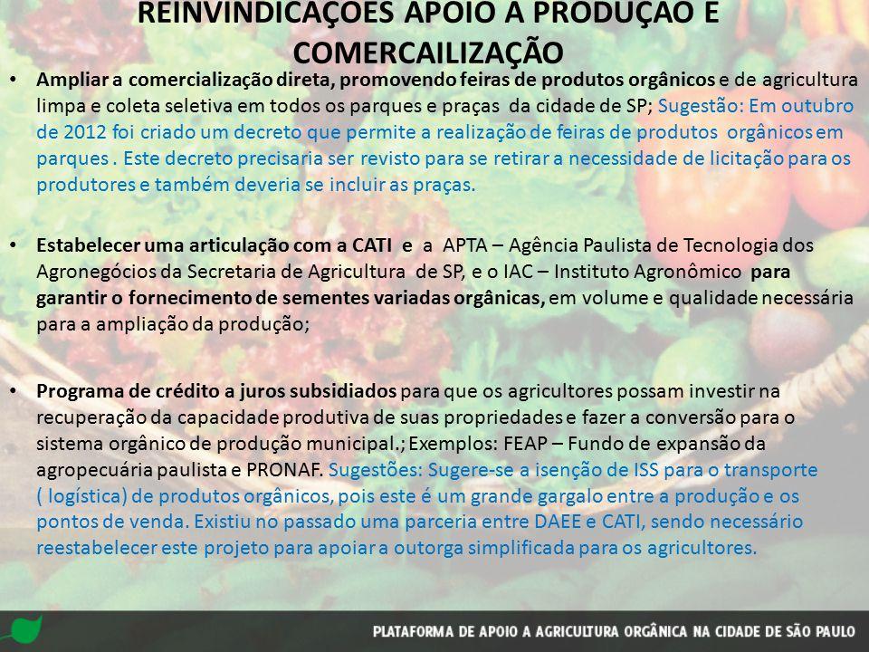 REINVINDICAÇÕES APOIO À PRODUÇÃO E COMERCAILIZAÇÃO
