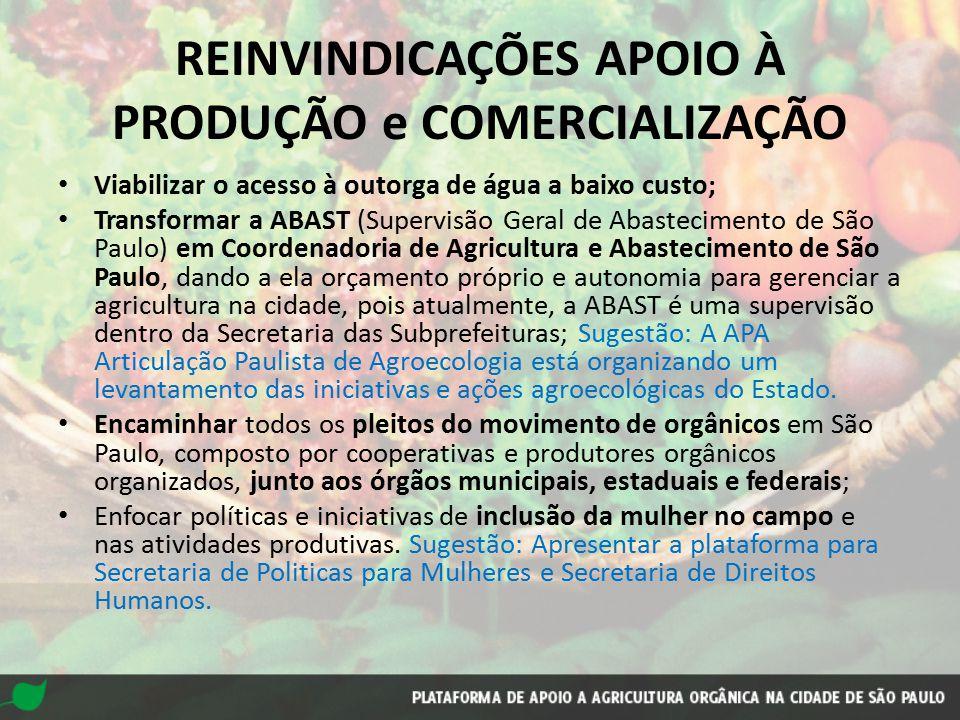 REINVINDICAÇÕES APOIO À PRODUÇÃO e COMERCIALIZAÇÃO