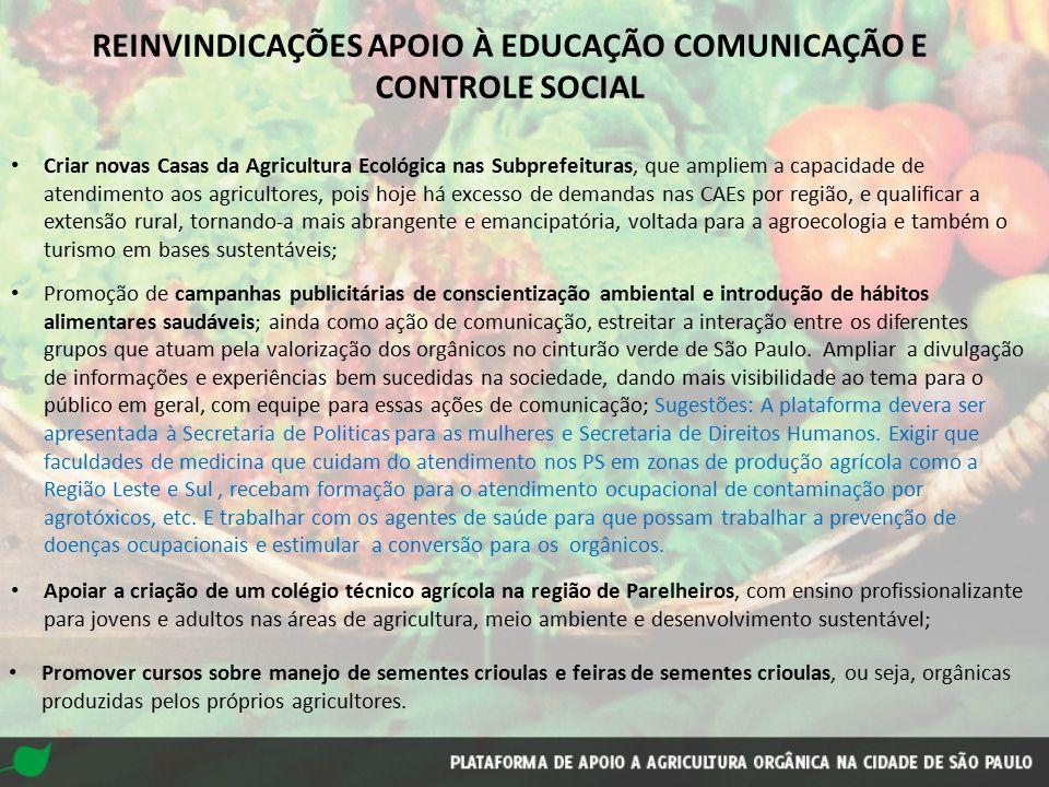 REINVINDICAÇÕES APOIO À EDUCAÇÃO COMUNICAÇÃO E CONTROLE SOCIAL