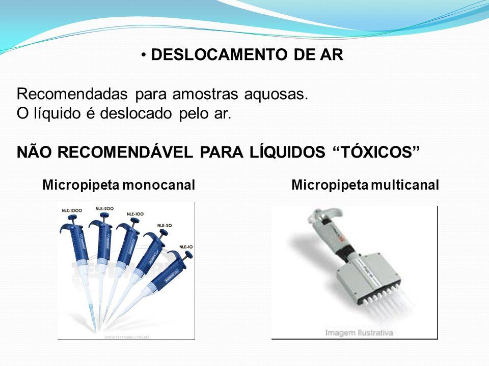 Recomendadas para amostras aquosas. O líquido é deslocado pelo ar.