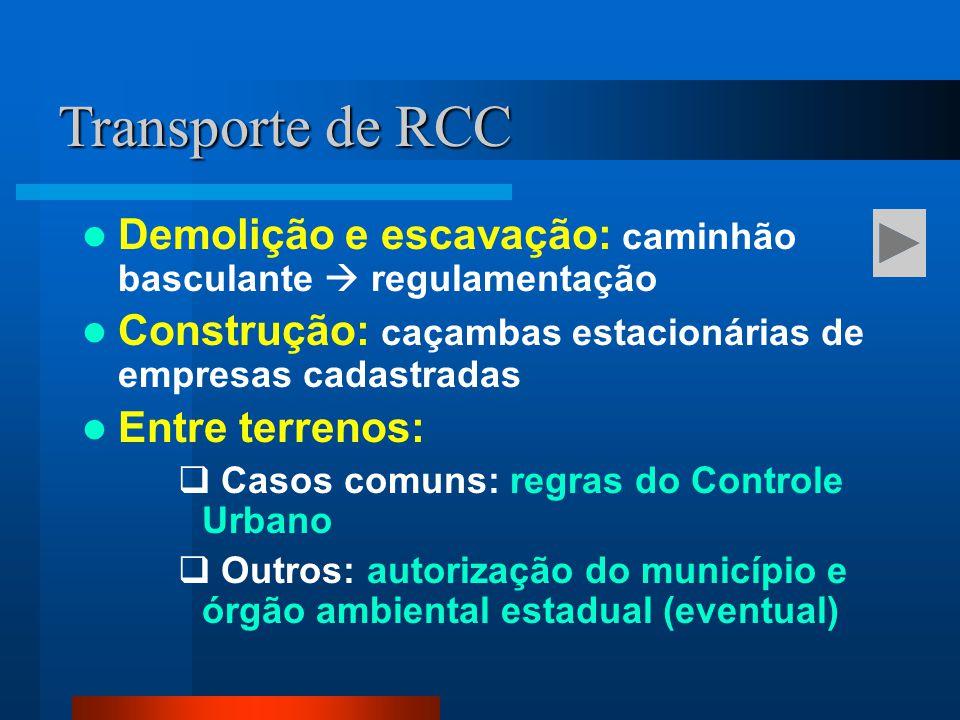 Transporte de RCC Demolição e escavação: caminhão basculante  regulamentação. Construção: caçambas estacionárias de empresas cadastradas.