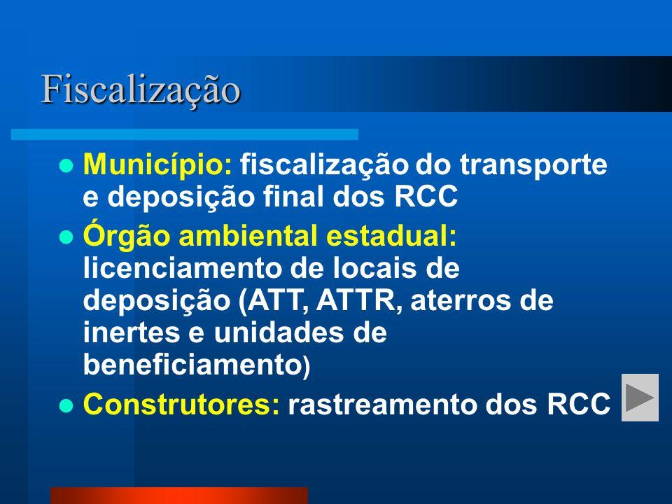 Fiscalização Município: fiscalização do transporte e deposição final dos RCC.