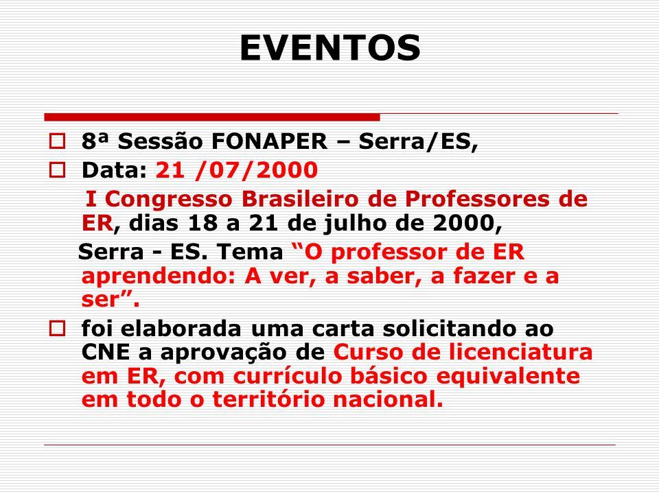 EVENTOS 8ª Sessão FONAPER – Serra/ES, Data: 21 /07/2000