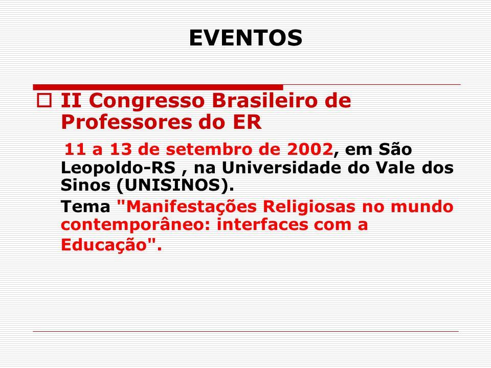 EVENTOS II Congresso Brasileiro de Professores do ER