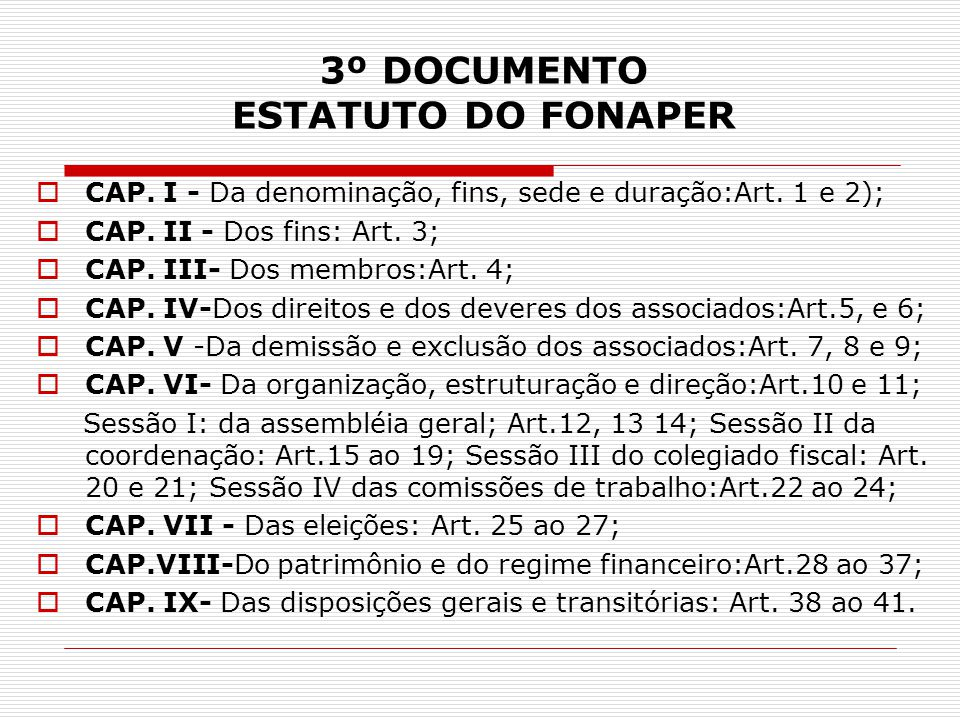 3º DOCUMENTO ESTATUTO DO FONAPER