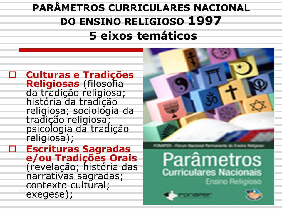 PARÂMETROS CURRICULARES NACIONAL DO ENSINO RELIGIOSO 1997 5 eixos temáticos
