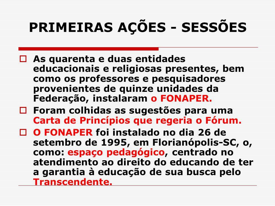 PRIMEIRAS AÇÕES - SESSÕES